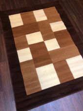 NEW MODERN BLOCK DESIGN RUGS BROWN 115X165CM 6FTX4FT APPROX GREAT QUALITY MATS